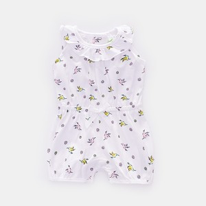 Organic Cotton Baby Girl Clothes Floral Short Sleeveless Newborn Rompers
