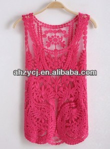 Fashion new ladies clothes tops sleeveless blouse crochet lace vest