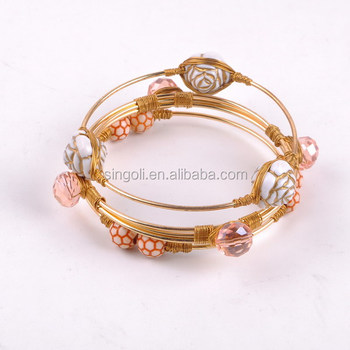 Handmade Diy Wire Wrapped Stones Gold Bangle Bracelet - Buy ...
