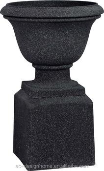 AGED BLACK SANDSTONE ROUND FIBERGLASS GARDEN PLANTER URN W/PEDESTAL