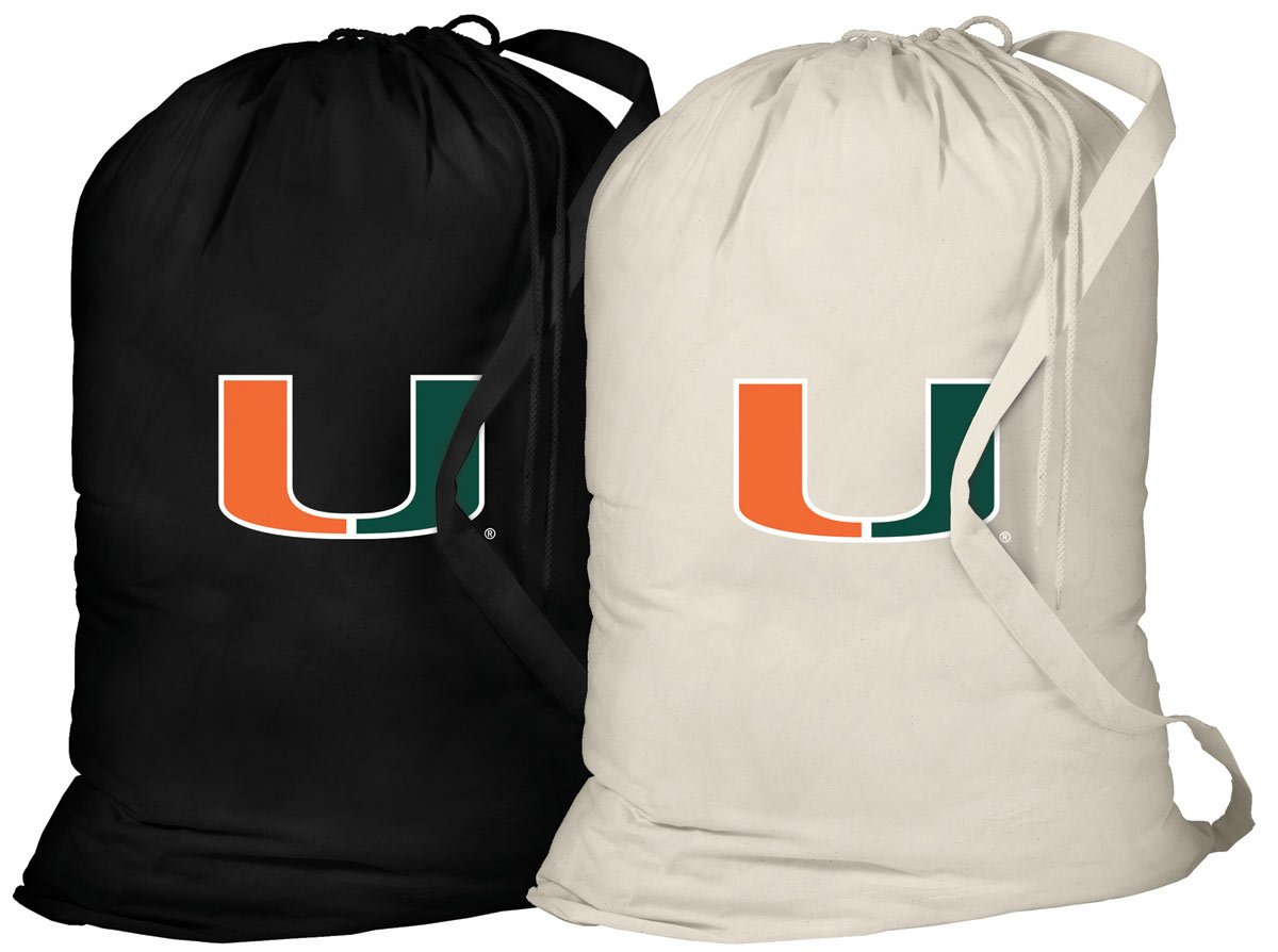 University of Miami Laundry Bag -2 Pc SET- Miami Canes Clothes Bags