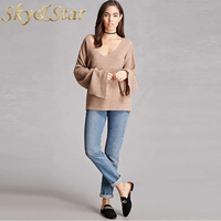 oversized deep neck Ribbed bell sleeve casual women knit top