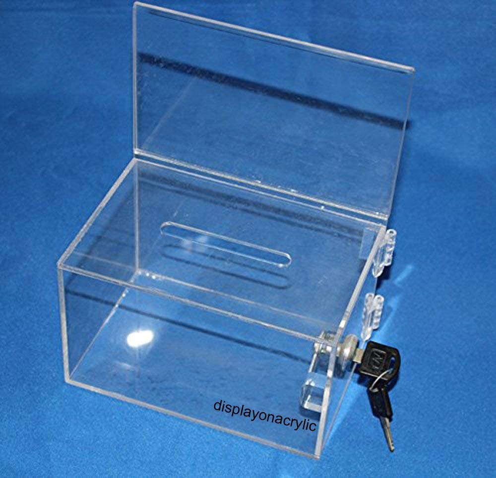 Tip Container Donation Box W//Two Compartments One Compartment Locked and Other Open for Give and Take- Great and Amazing for Fundraising Campaigns Collection Box