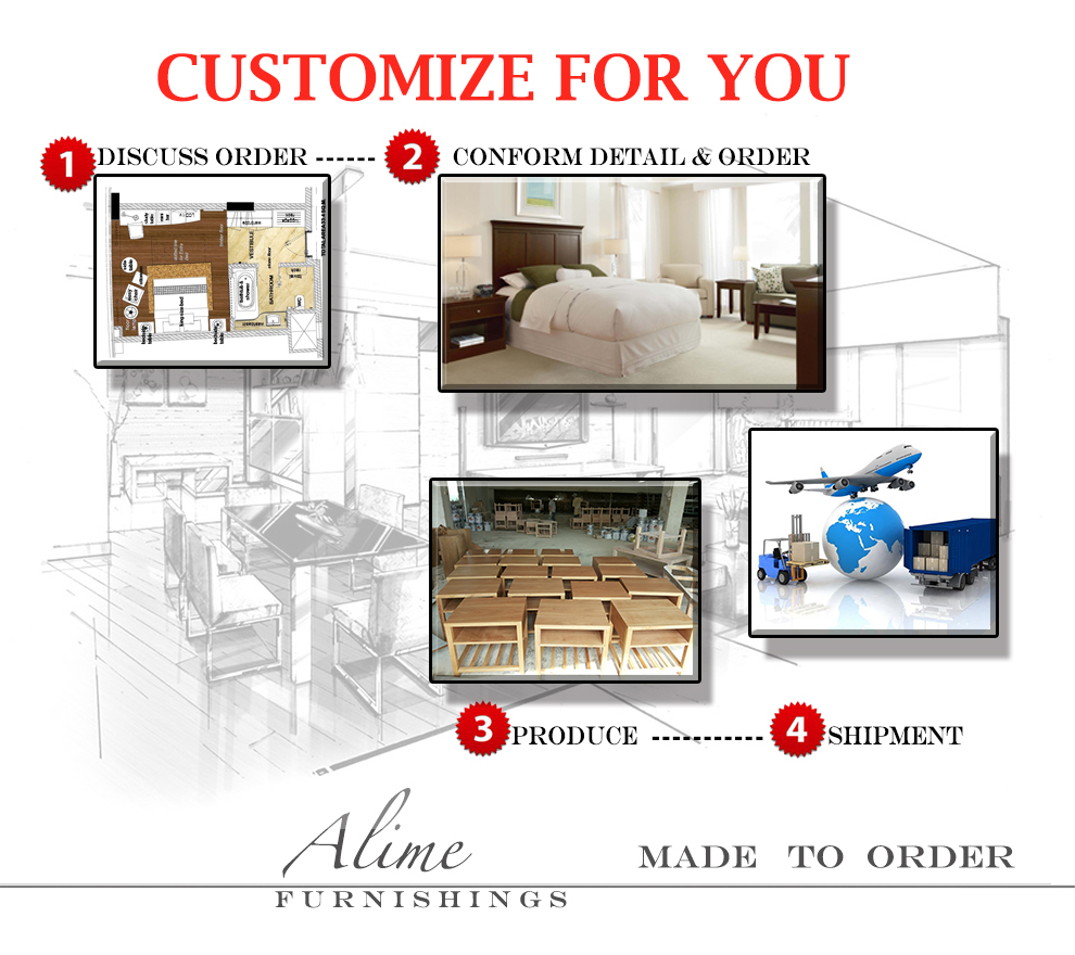 Solid Wood American Made Bedroom Furniture Alime Abt012 Custom Modern American Fast Food Solid Wood Dining