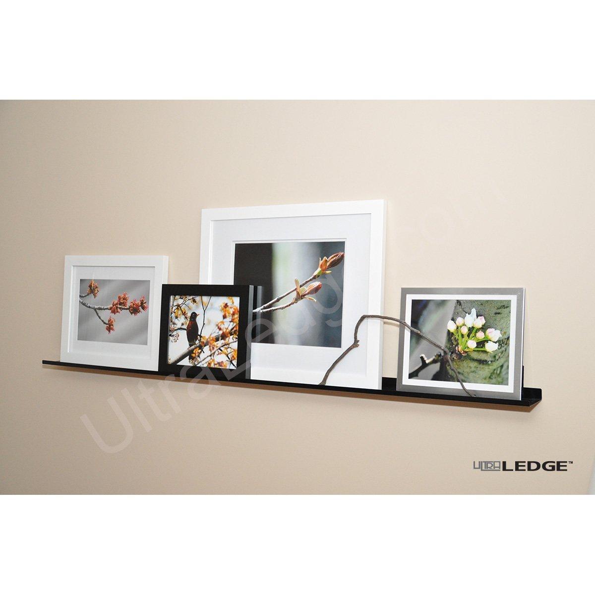 "5'/60"" UltraLedge Art Display / Picture Ledge / Floating Shelf, Metal, Modern (3.5"" deep, Black)"