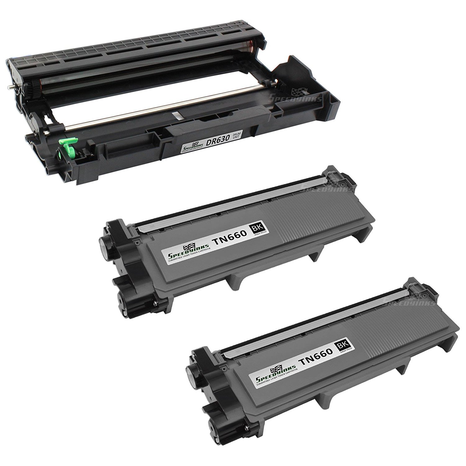 SpeedyInks Compatible Toner and Drum Replacement for Brother TN660 & DR630 (2 Toner, 1 Drum, 3-Pack)