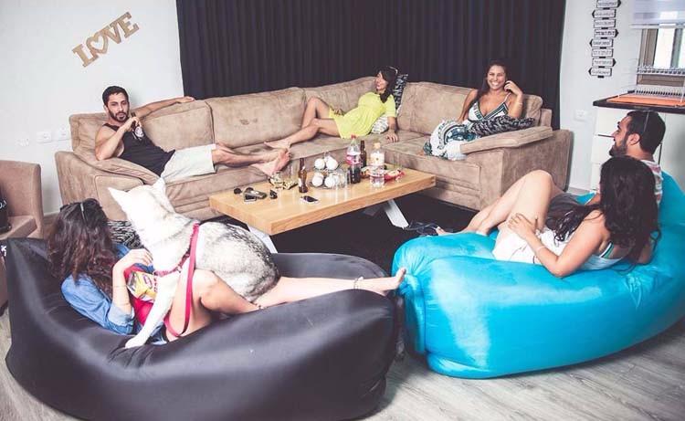 แบบพกพาเตียงถุงนอนอากาศพองกลางแจ้งโซฟาราคาถูกLaybagโซฟาพอง ขายส่ง ・ ผู้ผลิต・ ผู้จัดจำหน่าย