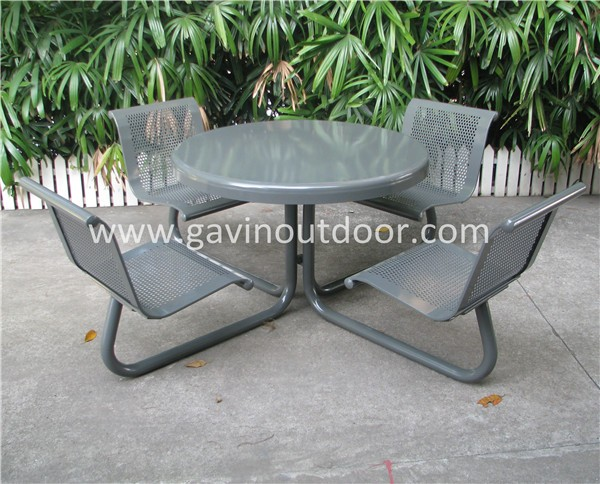 Perforated Metal Square Outdoor Cafe Table And Chair Set