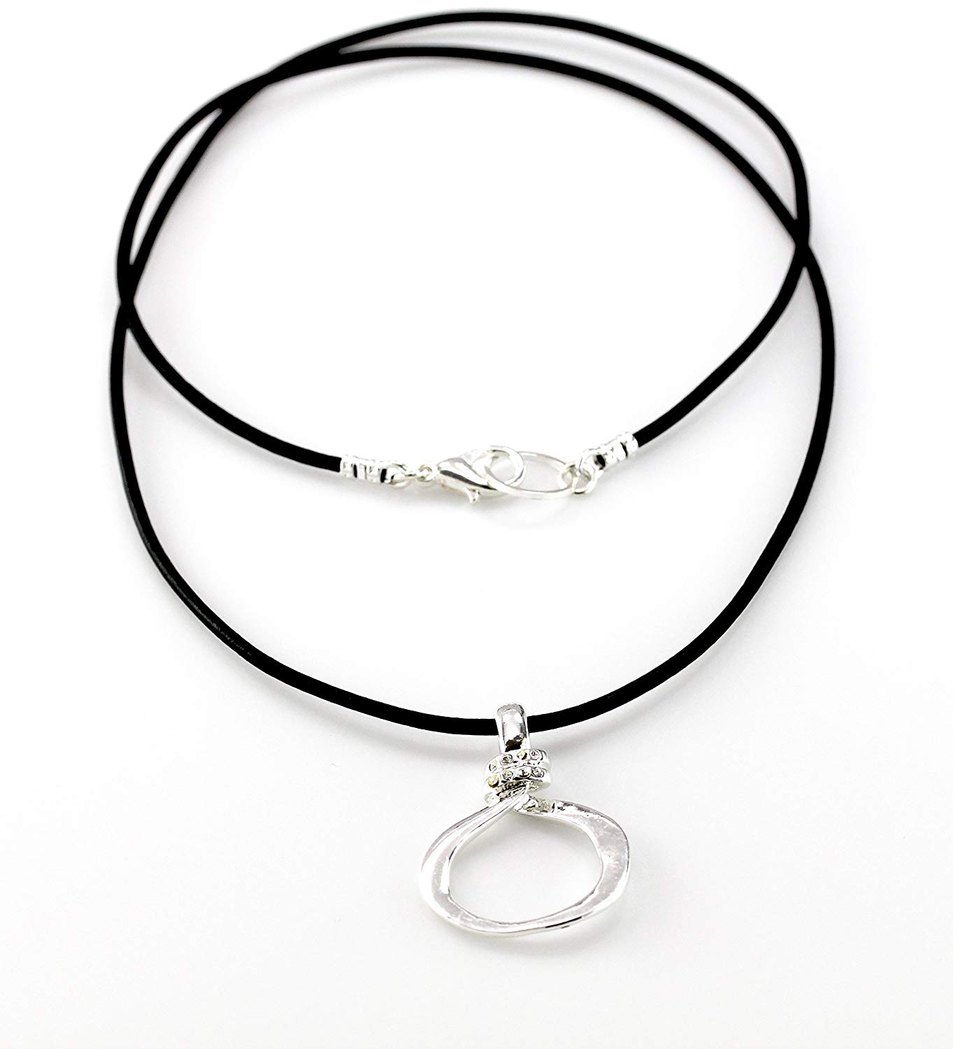 Organic Silver Eyeglass Necklace Loop with Rhinestones and Leather Cord