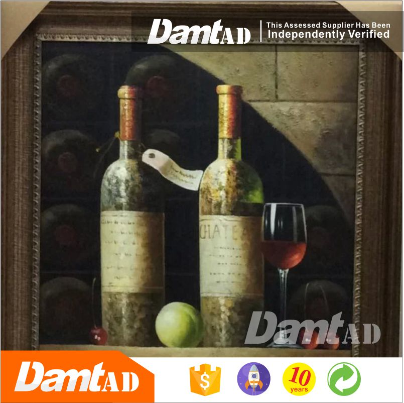 oil painting reproduction from china painting for lobby wine bottle painting on canvas