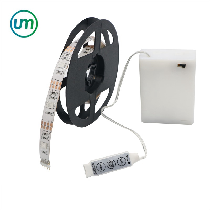DC 5V Battery Powered LED Strip <strong>RGB</strong> 5050 LED Lamp With Dimming Controller