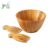Salad Bowl Set with Hand Servers - Made of Bamboo Wood