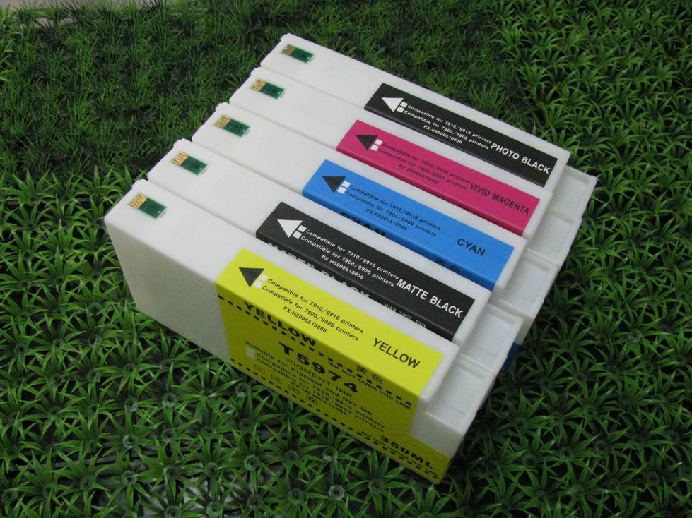 wholesale PHK C M Y MK compatible ink cartridge for Epson 7710/9710/7700/9700 700 ml volume with one time chip