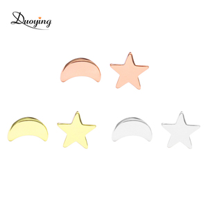 custom plating available unique stud earring beautiful designed moon and star earrings