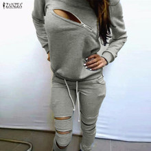 2015 Fashion Women Autumn Sweatshirt Suit Front Zipper O-Neck Long Sleeve Sport Suit Two Pieces Gray Ladies Hoodies Tracksuits