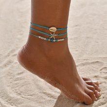 Женские богемные браслеты Huitan, милые браслеты на лодыжку с подвеской в форме черепахи, цепочкой с блестками и кисточками, оптовая продажа(Китай)