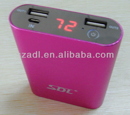 LCD screen power bank with 2 usb interface for most mobile phone, tablet, PSP, camera, mp3mp4