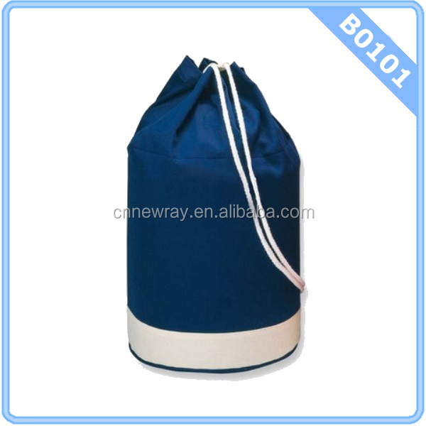 Navy & White Drawstring Duffle Bag - Backpack Sports Beach Holdall ...