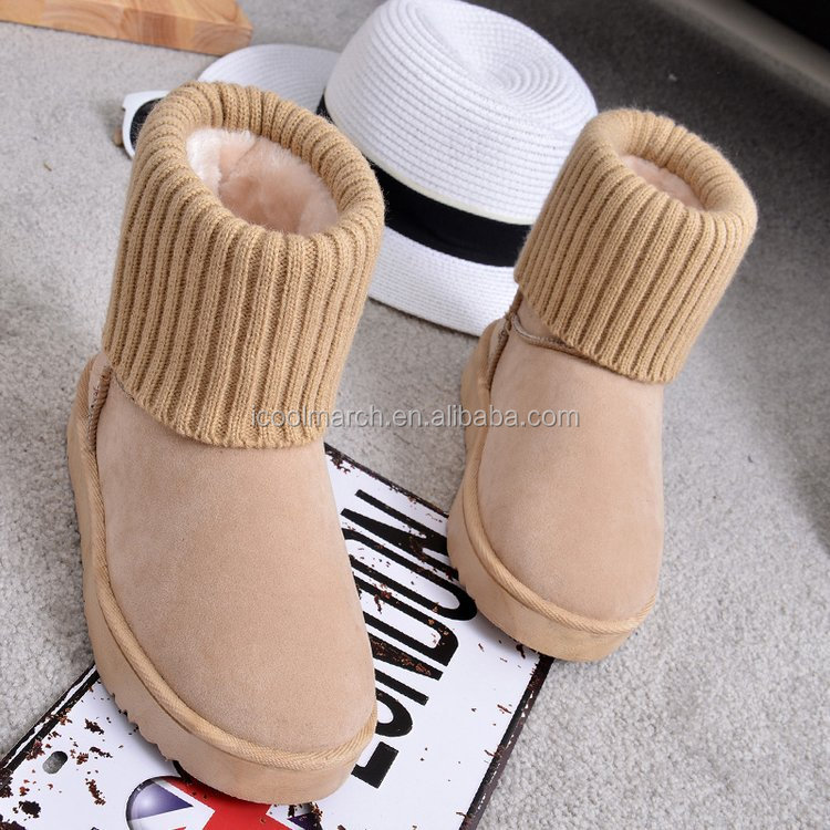 Factory new style cold winter with knitting bootleg decoration snow boot for women
