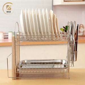 Practical metal kitchen dish drainer Rack / dinner plate storage holder with tray