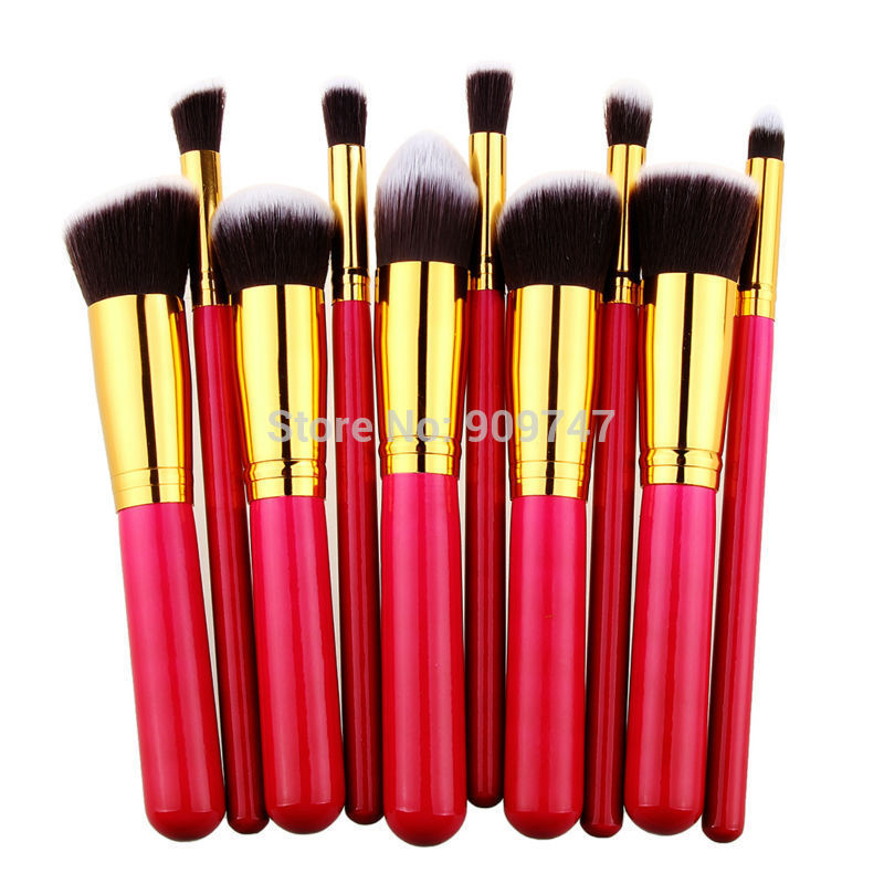 10 pcs Professional Makeup Brushes Set Cosmetics Tools Kit Synthetic Hair Gold arround Red Wooden Handle Eye Face Brush