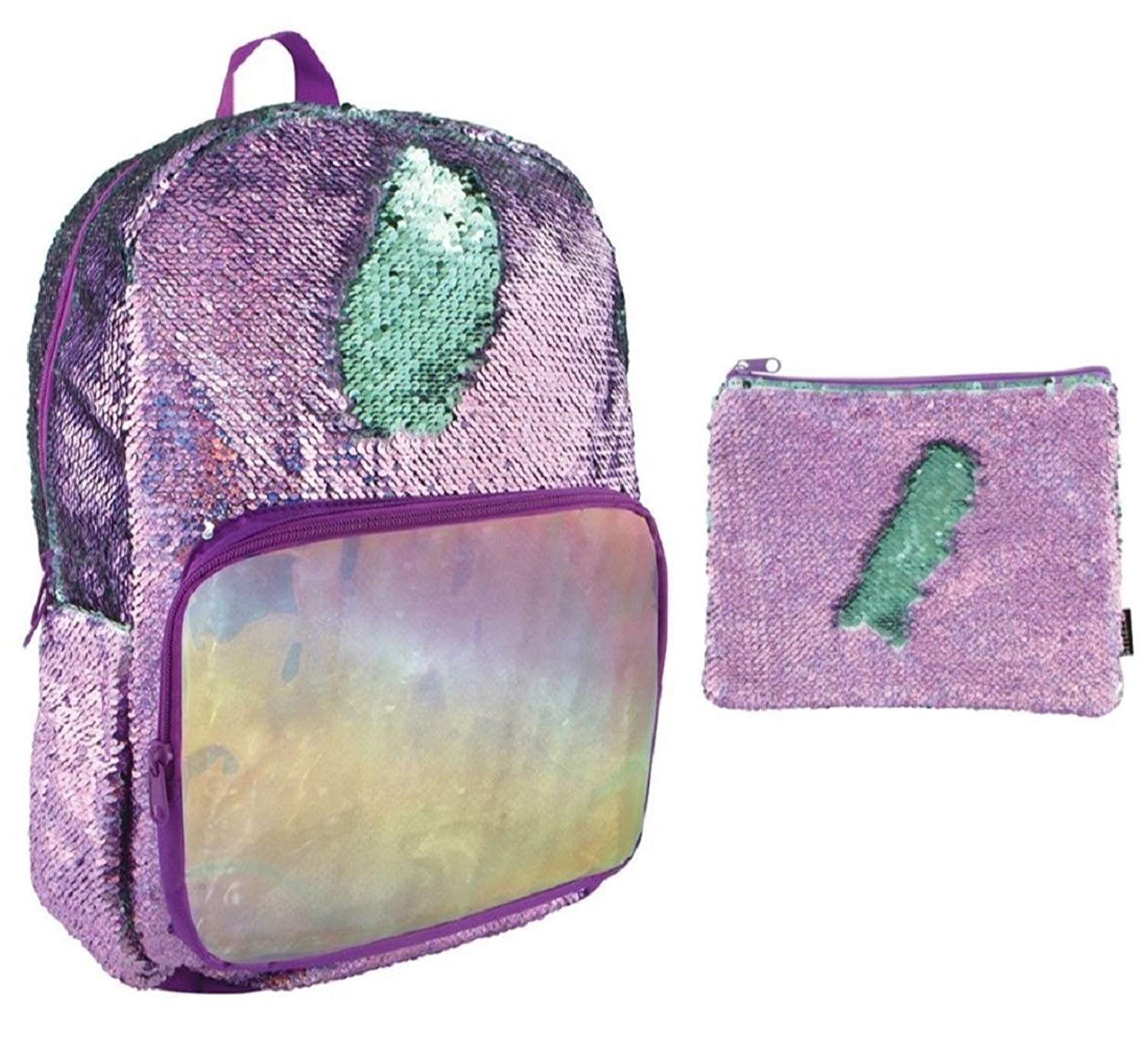 Style.Lab Magic Sequin Purple Holographic/Seafoam Sequin Backpack with Matching Accessory Pouch
