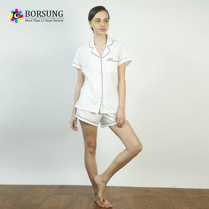 5ee932cb71 Borsung short sleeve Blank summer cotton Loungewear Set night sleep wear  Girls Fashion Pyjamas Womens