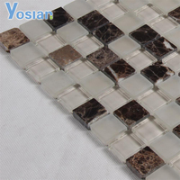 Swimming Pool Frosted Glass Mosaic And Marble Mosaic for Kitchen Backsplash