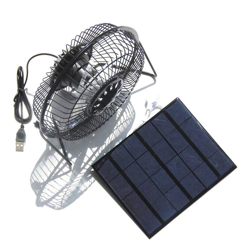 VORCOOL USB Fan Solar Powered 360 Degree Rotation Desktop Fan Outdoor Home Chicken Coop Greenhouse Cooling Ventilation System,3W 4Inch