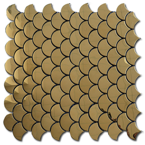 LS002 golden metal mosaic,aluminium mosaic tile,fish scale tile ceramic