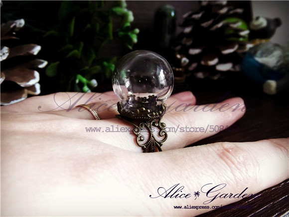 20sets lot 20x15mm glass globe ring flower finding set glass globe set glass vial pendant glass