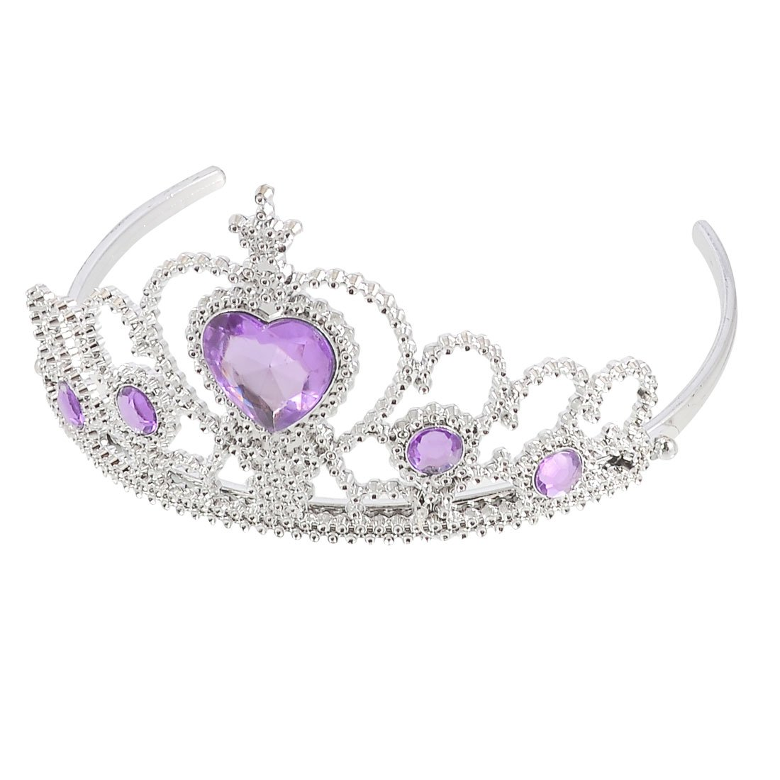Plastic Woman Wedding Faux RhInestone Tiara Headband Silver Tone Purple PK L2V3