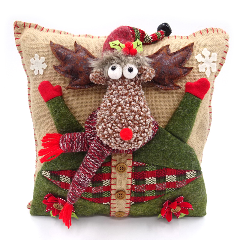 Good quality 34x34cm Jute Christmas Reindeer Pillow throw pillow covers christmas