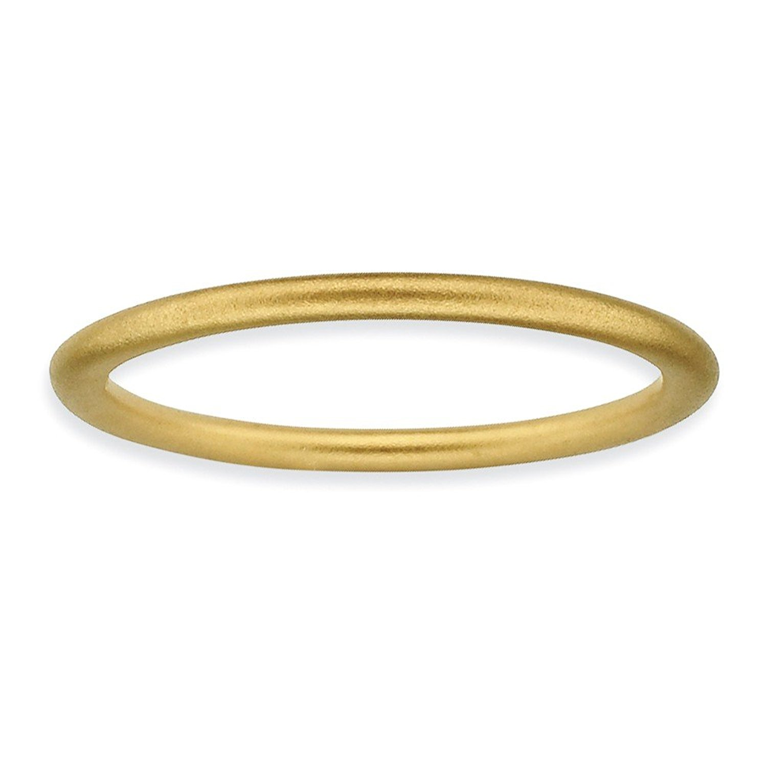 1.5mm Thin Satin Band 18K Yellow Gold Plated Sterling Silver Stackable Expressions Ring