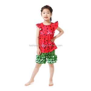 China Manufacturers Little Kid Girls Clothes Ruffled Outfits Simple Design Children Clothing Sets