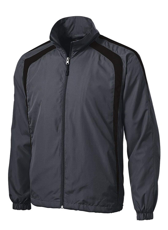 Joe's USA(tm) Mens Lightweight Full-Zip Wind Jacket-Graphite/Black-L