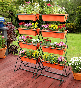 Marvelous 4 Tier Outdoor Flower Bed Pot Stand With 4 Flower Boxes Sturdy Tall Planter Buy Metal Planter Shelf Tall Flower Stand Metal Metal Flower Stand Download Free Architecture Designs Rallybritishbridgeorg