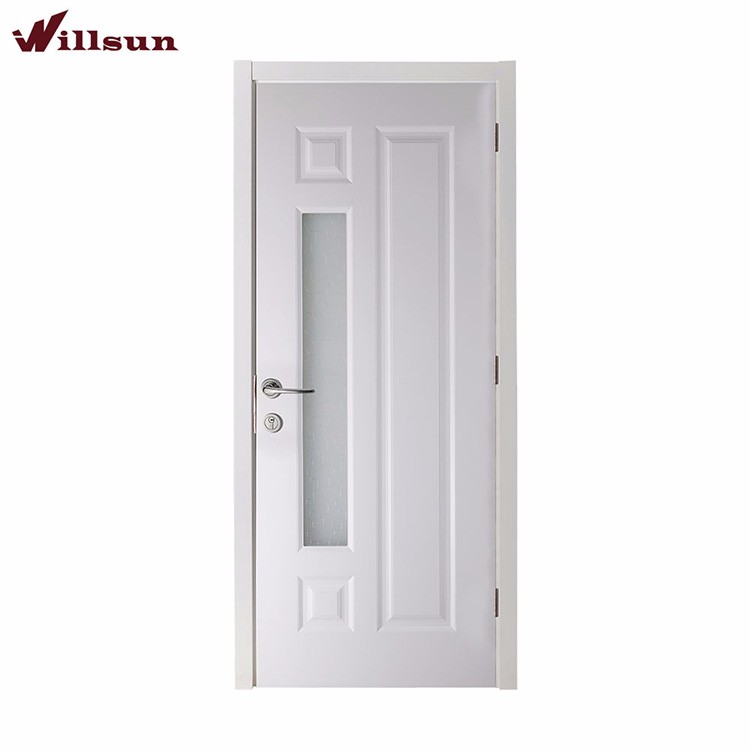 Modern Fashion Flush Entry Carving Glass Wooden Office Door