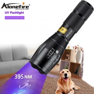 AloneFire G700 Zoom LED UV Light Flashlight 395nm adhesive curing Home Travel safety UV Detection Torch Lamp AAA 18650 battery