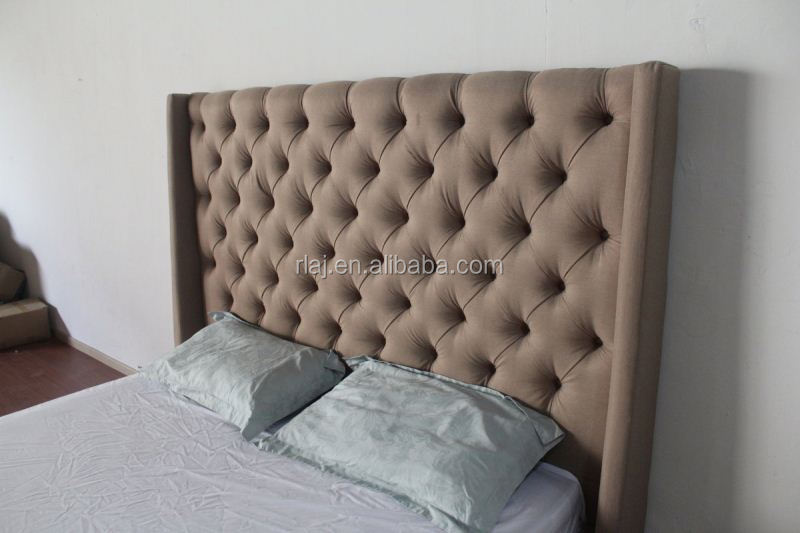 Upholstered Diamond Tufted linen bed customize 165cm high headboards, king