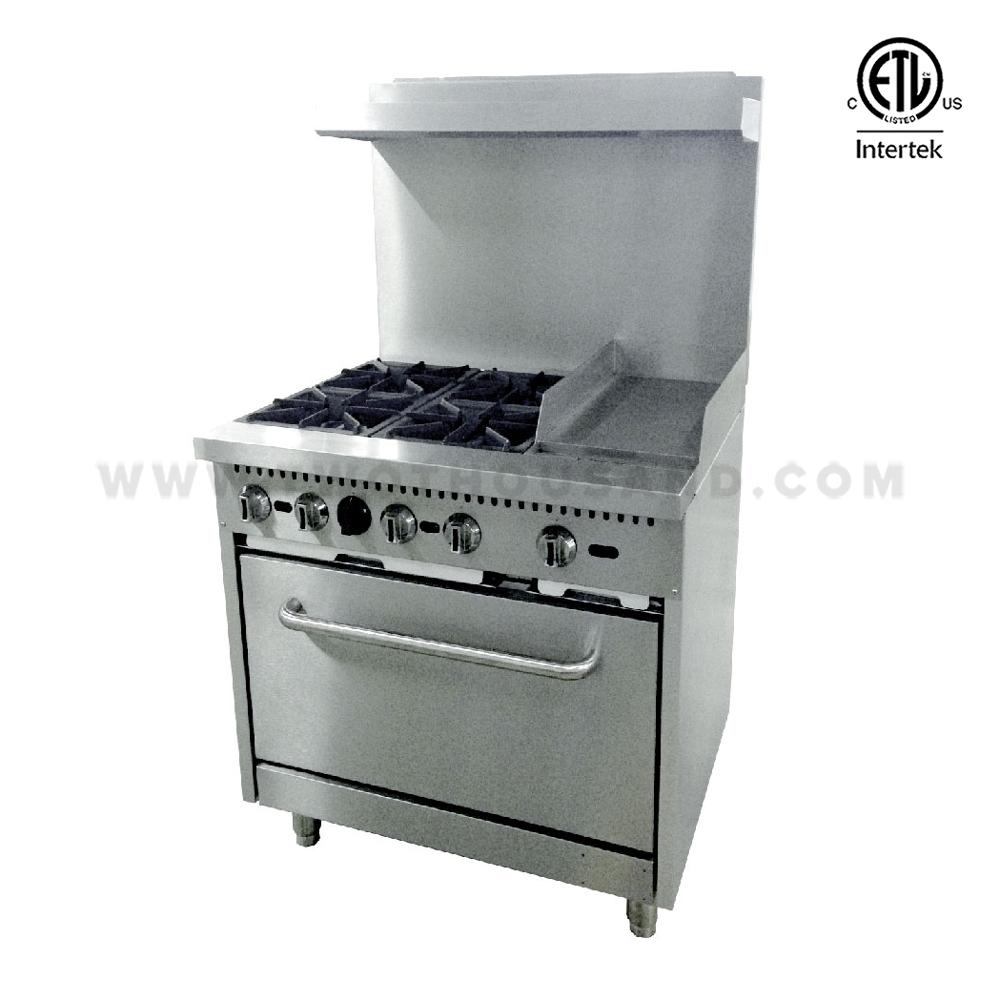 RGR36-G12 4 Burners Gas Hot Plate Cooker with Baking Oven and Flat Griddle