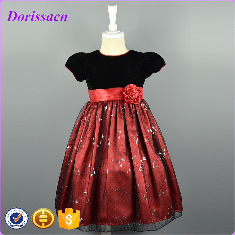 0df31e9a18 Girls Sequin Mesh Prom Dress With Velvet Top Polyester Skirt Girls Party  Baby Girl Clothes Dresses For New Year