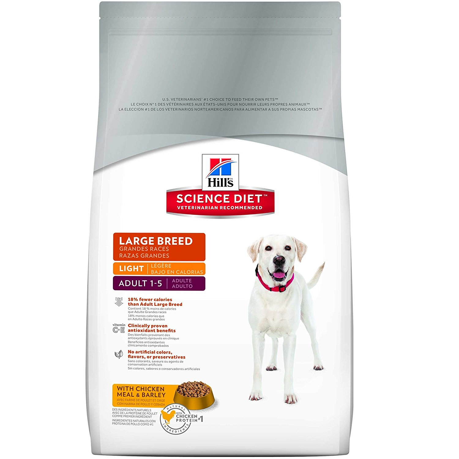 Hill's Science Diet Adult Light Dog Food, Large Breed Chicken Meal & Barley for Weight Management, Dry Dog Food