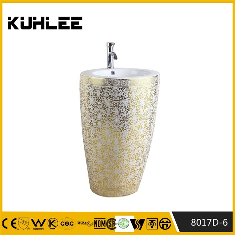 Big size gold series pedestal basin