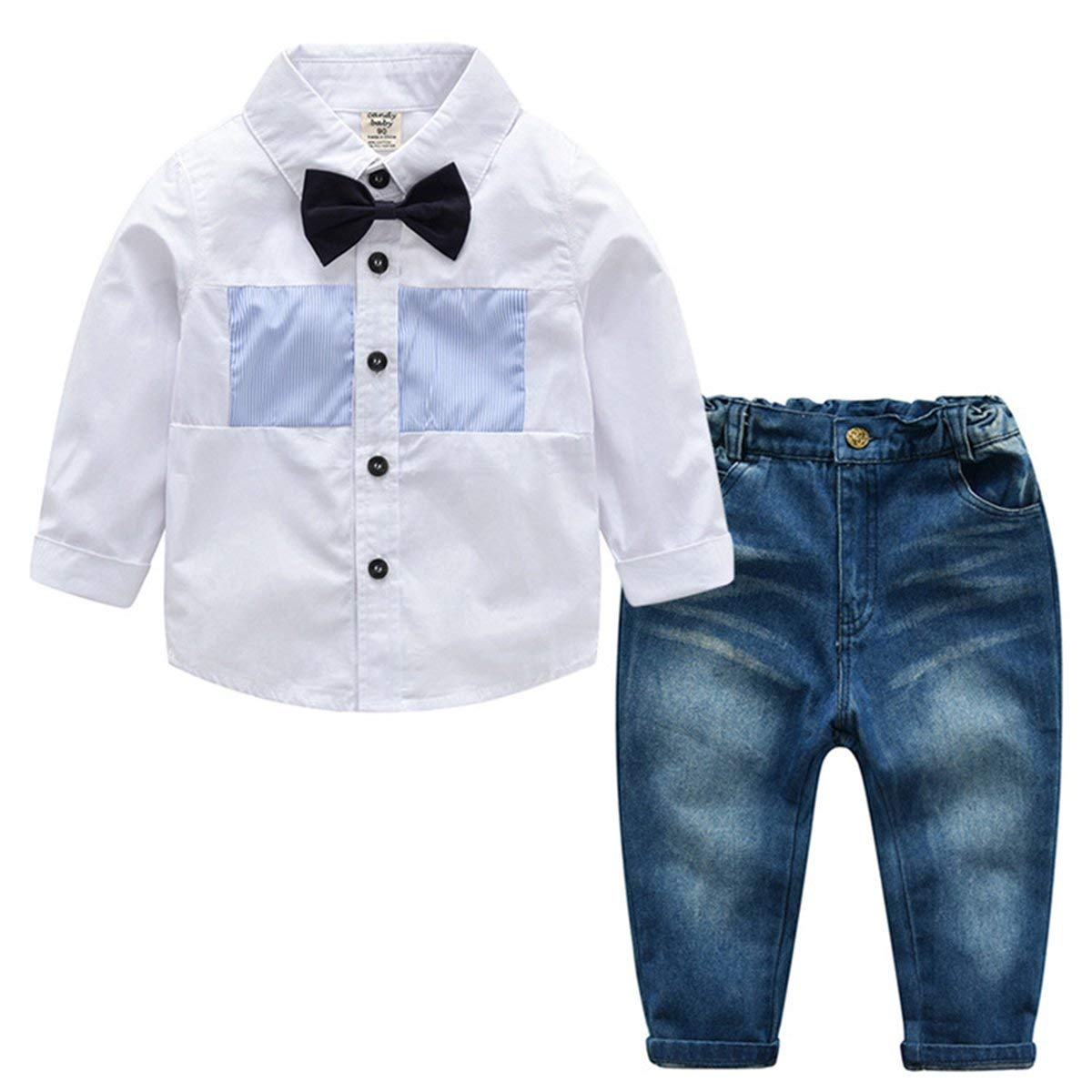 daqinghjxg New Summer Boys Clothing Sets Gentleman Baby Boy Clothes Shirt and Suspender Trousers