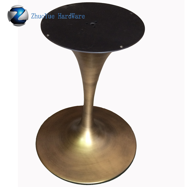 Antique Style Cast Wrought Iron Table Legs Brushed Bronze Round Tulip Table  Base For Eero Saarinen