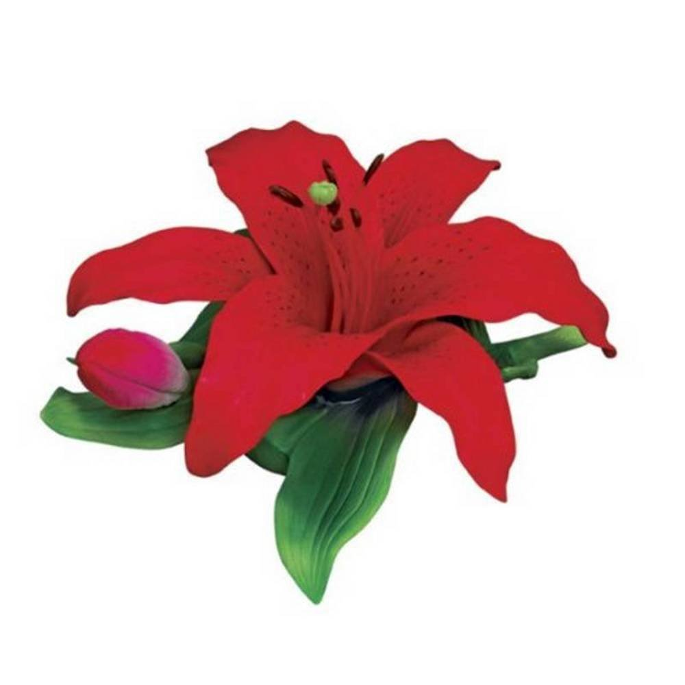 Cheap red flower lily find red flower lily deals on line at alibaba get quotations andrea by sadek large red lily porcelain flower izmirmasajfo