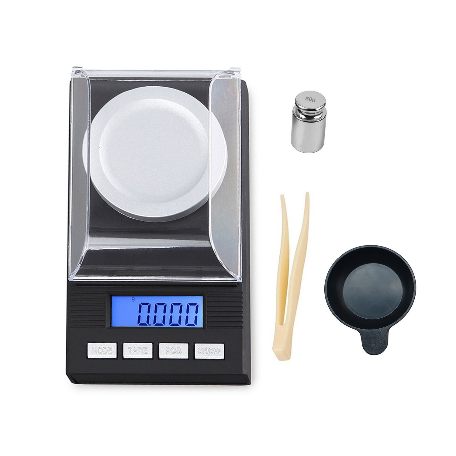 High Precision Digital Milligram Scale 50g/1.7637oz Capacity, 0.001g/0.0001oz Division, Portable Jewelry Scale Digital Weight with Calibration Weights Tweezers and Weighing Pans