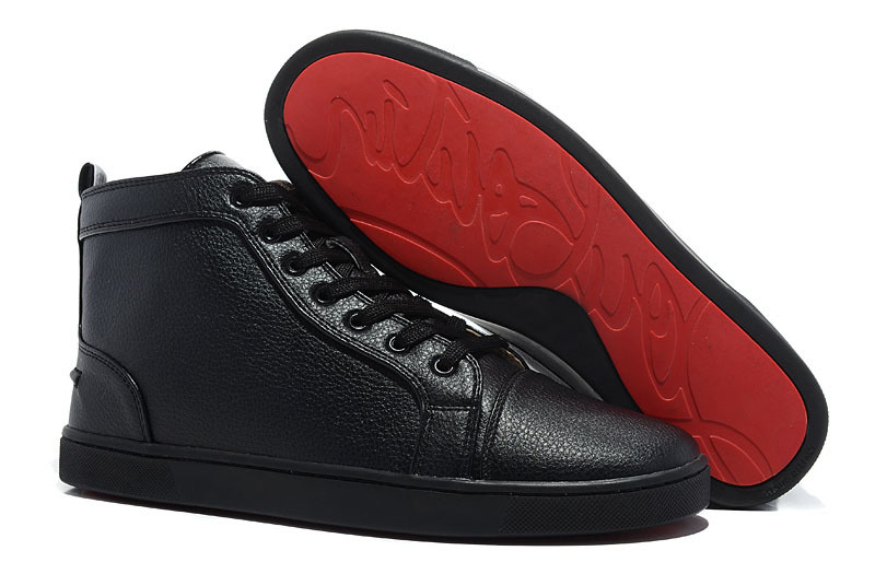 New high quality Black embossed genuine leather on red high-top shoes red bottom men sneakers 2015 hot sale size 35-46