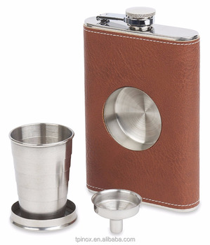 Brown Leather Wrapped Stainless Steel 8oz Shot Flask with Removable Collapsible Steel Cup and Funnel